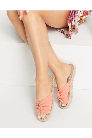 ASOS Jolly knotted mule espadrille in peach-Orange