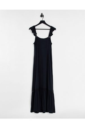 ASOS Frill sleeve maxi sundress with lace inserts in black