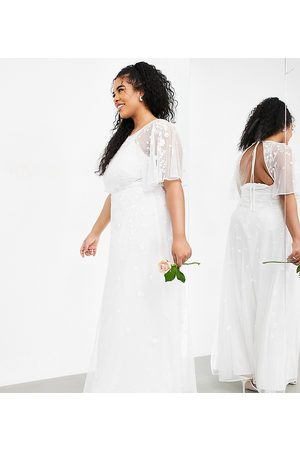 ASOS Curve Annie floral embroidered flutter sleeve wedding dress-White