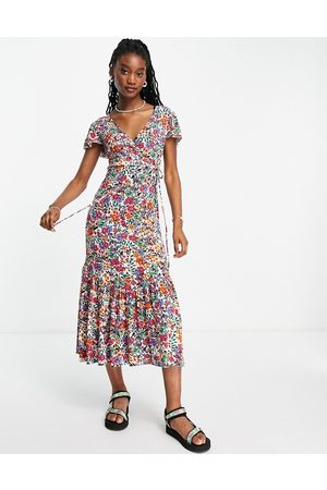 QED London Flutter sleeve midaxi wrap dress in multi floral print