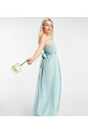 Little Mistress Bridesmaid one shoulder maxi dress in green