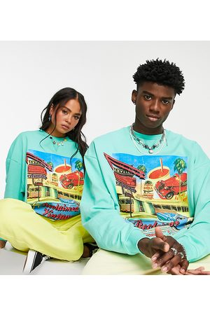 Reclaimed Inspired unisex relaxed sweatshirt with Tulum print in turquoise-Blue