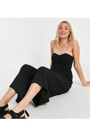 ASOS ASOS DESIGN tall textured bandeau jumpsuit in black