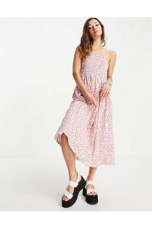 ONLY Cami midi sundress with shirring in floral print-Pink