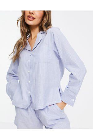 ASOS Mix & match traditional cotton stripe pyjama shirt in blue & white