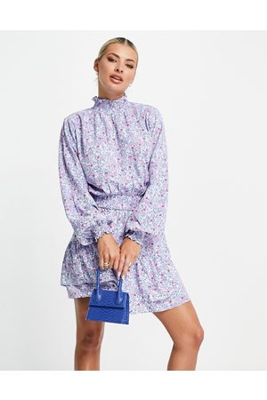I saw it first Long sleeve shirred waist mini skater dress in blue floral print-Multi