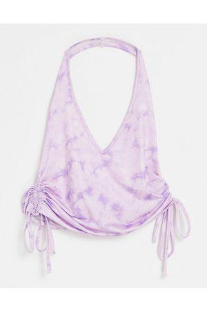 ASOS Halter top in slinky tie dye with ruched side-Purple