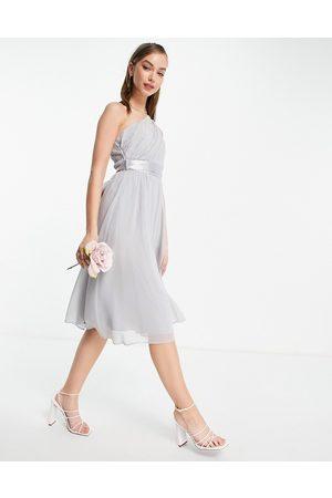 Little Mistress Little Misstress Bridesmaids one-shoulder midi dress in grey