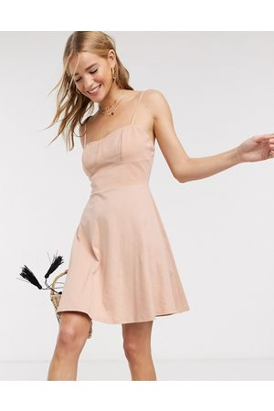 ASOS Mini square-neck sundress with cup seams in beige-Neutral