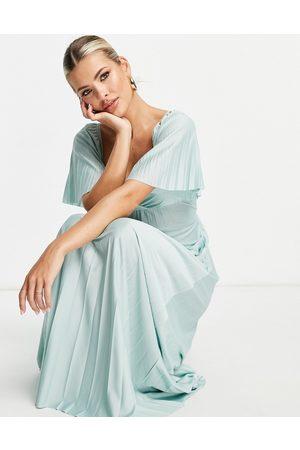 ASOS Pleated twist back cap sleeve maxi dress in light blue