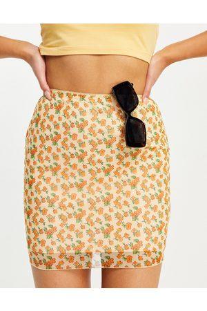 Motel Mini skirt in summer floral mesh co-ord-Multi