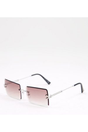 Jeepers Peepers Womens square sunglasses in silver with pink lens - Exclusive to ASOS