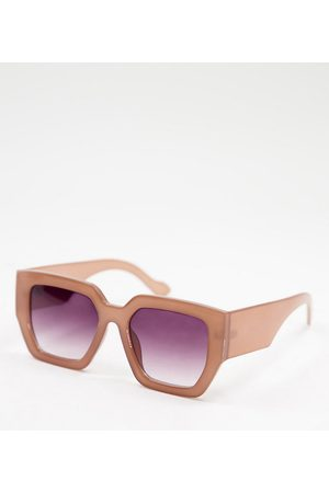 Jeepers Peepers Women's oversized square sunglasses in pink - exclusive to ASOS
