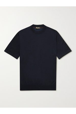 Loro Piana Men Short Sleeve - Cashmere and Silk-Blend T-Shirt