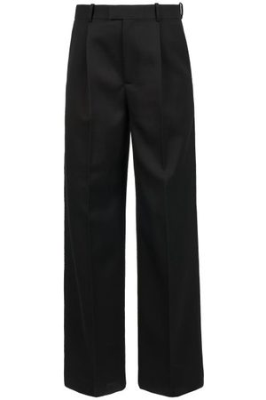 Bottega Veneta High-rise Grain-de-poudre Straight-leg Trousers - Womens