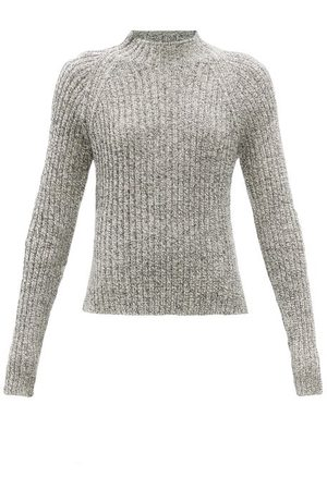 Jil Sander Stand-neck Ribbed Cotton-mouline Sweater - Womens
