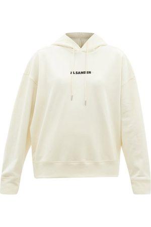 Jil Sander Logo-print Cotton Hooded Sweatshirt - Womens - Light Cream