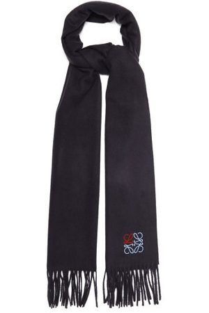Loewe Anagram-embroidered Cashmere Scarf - Mens - Navy