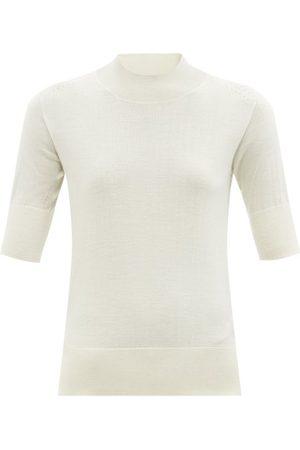 Jil Sander High-neck Side-slit Sweater - Womens - Ivory