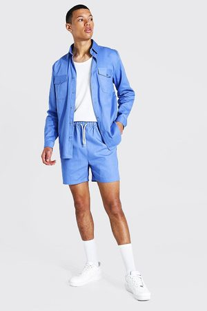 Boohoo Men Shirts - Mens Light Tall Twill Stripe Overshirt And Short