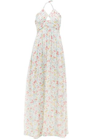 LoveShackFancy Donovan Halterneck Floral-print Cotton Maxi Dress - Womens - Multi