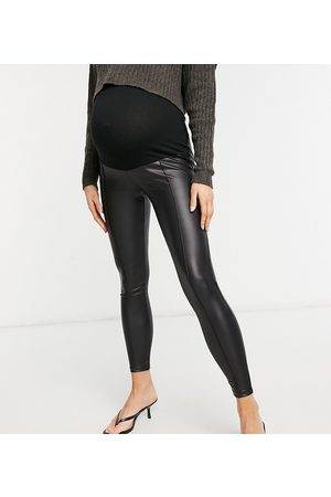ASOS Maternity ASOS DESIGN Maternity leather look leggings with bump band and pintuck in black