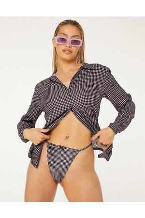 New Girl Order High leg tanga bikini bottom in lilac checkerboard-Purple