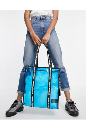 House of Holland Tote Bags - Blue transparent tote bag with logo straps in black