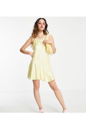 COLLUSION Bias-cut seam detail satin mini slip dress in yellow