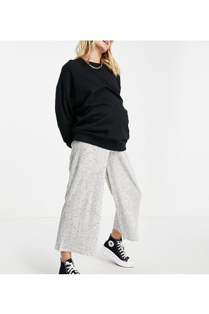 ASOS Maternity ASOS DESIGN Maternity over the bump culotte pants in rib with tie waist in white marl