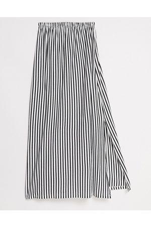 ASOS DESIGN Bandeau maxi sundress with pockets in mono stripe-Black