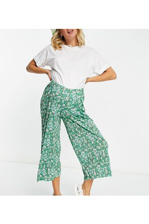 ASOS Maternity Women Culottes - ASOS DESIGN Maternity over the bump plisse culotte pants in ditsy floral print-Multi