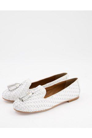 Dune Gilsa woven tassel loafers in white