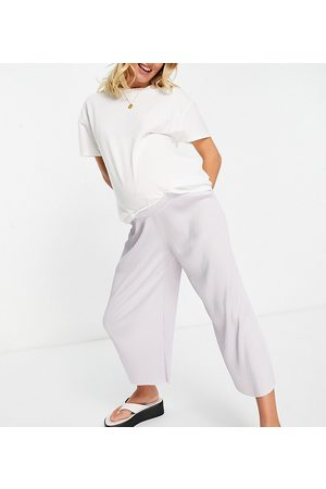ASOS Maternity ASOS DESIGN Maternity over the bump plisse culotte pants in lavender blue