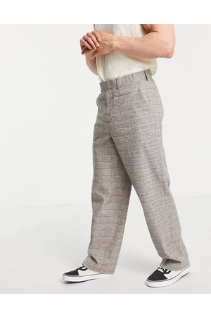 ASOS Extreme wide smart pants in brown prince of wales check