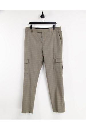 ASOS DESIGN Cargo Pants - Skinny cargo smart pants in brown check