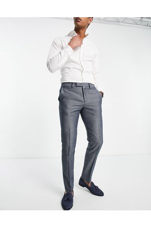 Twisted Tailor Formal Pants - Suit pants with micro geo jaquard in blue and white