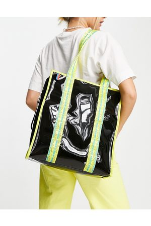 House of Holland Black transparent tote bag with contrast logo straps in yellow