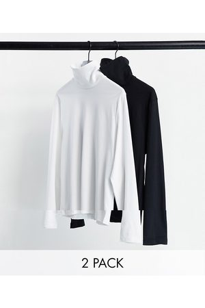 ASOS Long sleeve jersey roll neck top in black/ white 2 pack-Multi