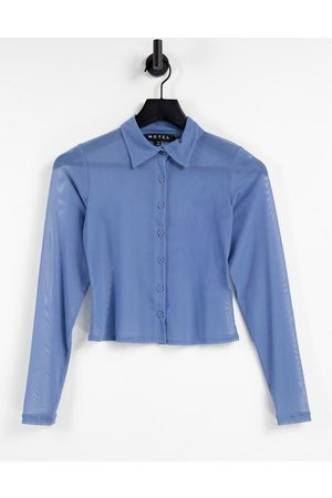 Motel 90s fitted mesh button-front shirt-Blue