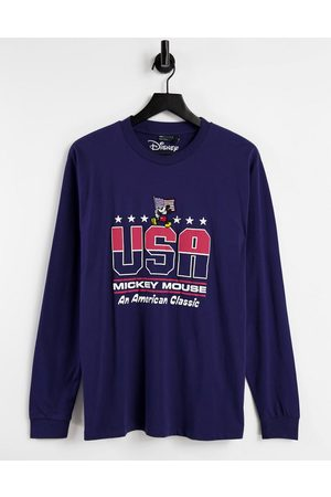 ASOS DESIGN Long-sleeved T-shirt with Mickey US print in navy