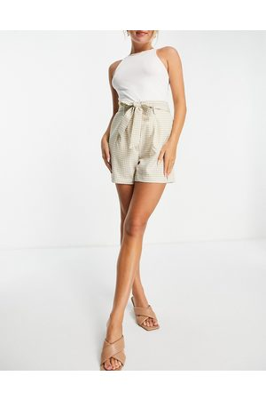 Vila Tailored gingham shorts with tie waist-Multi