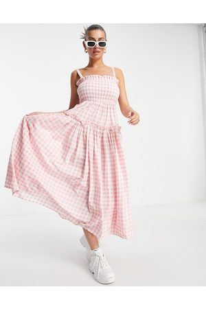 ASOS DESIGN Cami midi sundress with raw edges in pink and white gingham-Multi