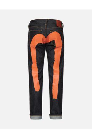 Evisu Orange Brushstroke Daicock Slim Fit Jeans #2010