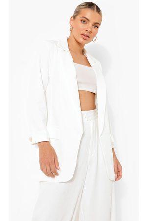 Boohoo Turn Back Cuff Tailored Blazer- Ivory