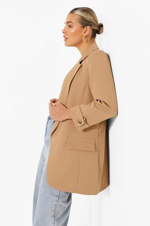 boohoo Women Blazers - Turn Back Cuff Tailored Blazer- Tan