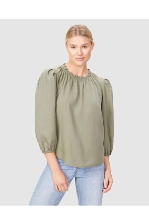 French Connection High Neck Frill Top - Tops (WASHED OLIVE) High Neck Frill Top