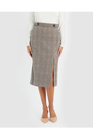 Forcast Women Printed Skirts - Lilly Side Split Check Skirt - Pencil skirts Lilly Side Split Check Skirt
