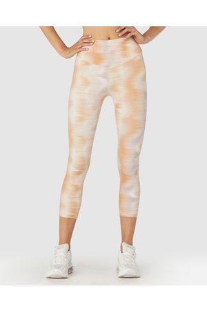L'urv Women Sports Leggings - Sunset Rain 3 4 Leggings - Compression Sunset Rain 3-4 Leggings
