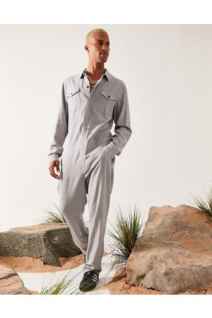ASOS Women Jumpsuits - Linen-mix boilersuit in light grey